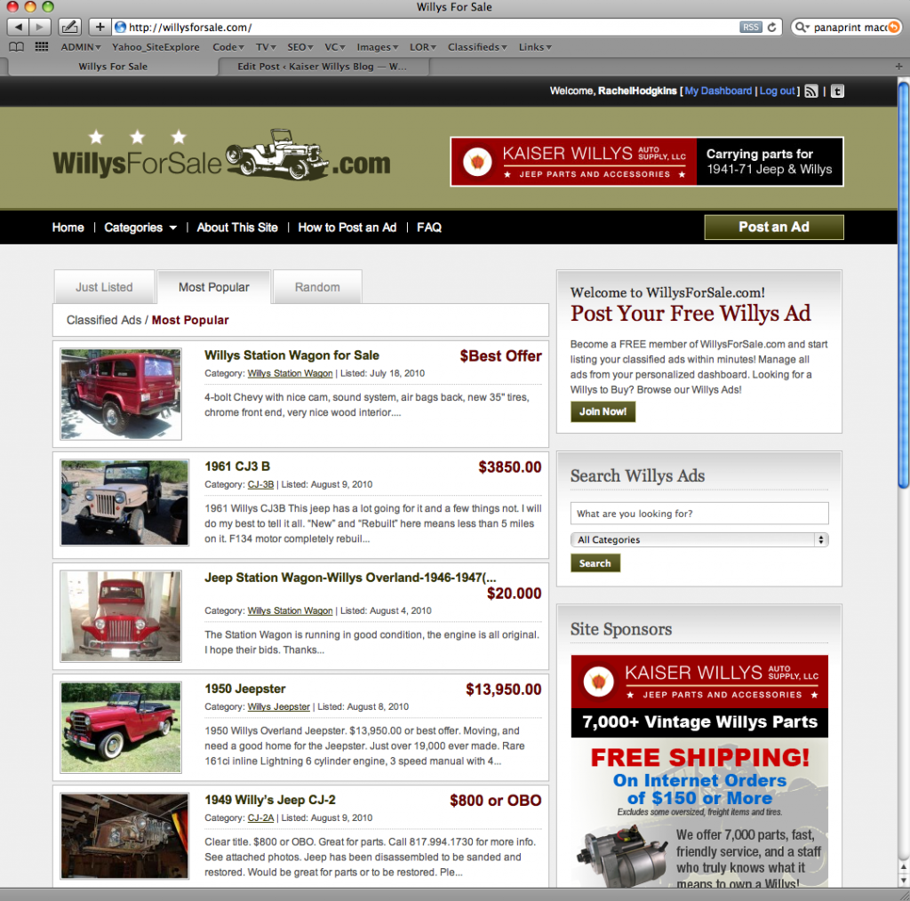 Willys For Sale - Willys Classified Ads