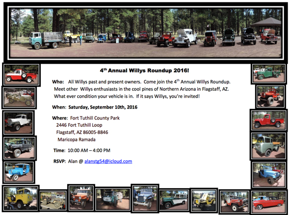 4th Annual Willys Roundup of Northern Arizona in Flagstaff, AZ September 10th