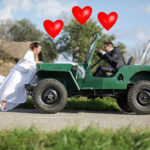Cupid drives a Willys Jeep…